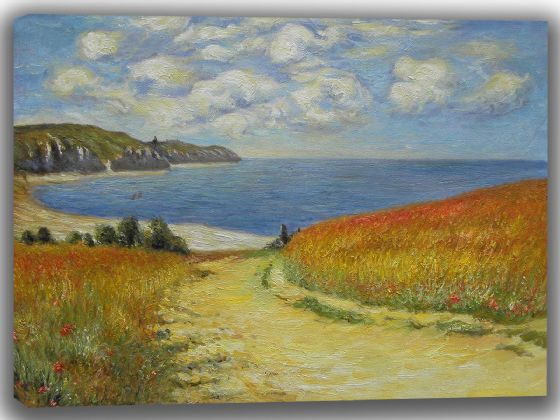 Monet, Claude: Path Through the Corn at Pourville. Fine Art Landscape Canvas. Sizes: A4/A3/A2/A1 (002834)